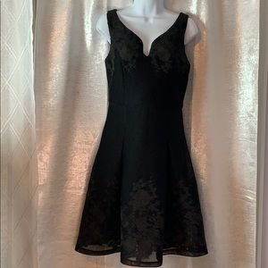 DKNY sleeveless mesh with embroidery party dress